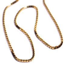 """SOLID 18K ROSE GOLD CHAIN 1.1 MM VENETIAN SQUARE BOX 17.7"""", 45 cm, ITALY MADE image 3"""