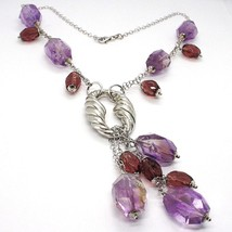 SILVER 925 NECKLACE, FLUORITE OVAL FACETED PURPLE, PENDANT BUNCH image 2