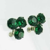 ANTIQUE STERLING SILVER GREEN PASTE RHINESTONES MINE CUT SCREWBACK EARRINGS - $35.99