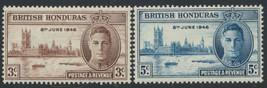 1946 Victory Issue British Honduras Set of 2 Postage Stamps Catalog 127-28 MNH