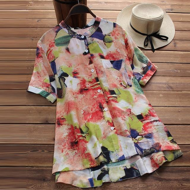 Top Fashion 2018 ZANZEA Summer Casual O Neck Short Sleeve Blouse Women Vintage B image 3