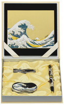 Maki-e Urushi Japanese Stationary set Wave Mouse pad USB Drive Pen Loupe... - $246.49