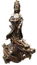 BODHISATTVA GODDESS KUAN YIN RIDING ON CLOUD DRAGON GUANYIN STATUE SCULP... - £58.13 GBP