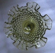 FENTON GREEN GLASS HOBNAIL RUFFLED COMPOTE FOOTED CANDY BOWL CHRISTMAS D... - $24.70