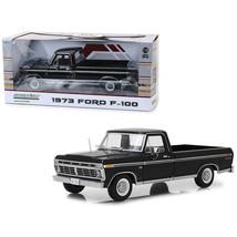 1973 Ford F-100 Custom Pickup Truck Black 1/18 Diecast Model Car by Gree... - $77.08