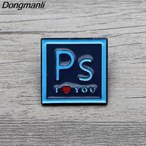 L3598 Photoshop ILOVEYOU Enamel Pin Brooches Cartoon Creative Metal Broo... - $7.99