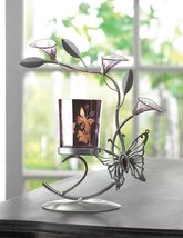 Candle Holders Flower, Colored Decorative Candle Holder Metal - Butterfly Lily image 2