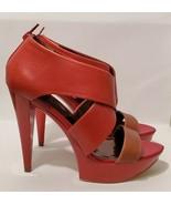Carlos Santana Mixer Open-Toed Strappy Red Tan Zip Up High Heels Women S... - $18.70