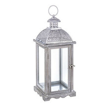 Darice Whitewashed Wood Lantern with Silver Carved Top, 17.8 inches w - $39.99