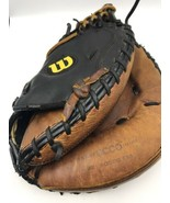 "Wilson A500 32"" A0500 Baseball Catchers Mitt Glove Ecco Leather Black Brown Left - $17.67"