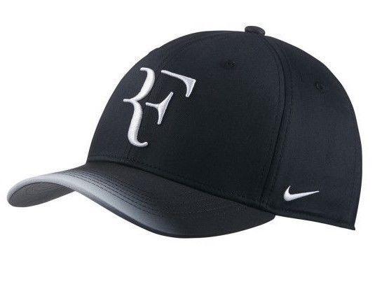 f59f1fa8 57. 57. Previous. NIKE AEROBILL ROGER FEDERER TENNIS RUNNING HAT CAP BLACK  NEW W/TAGS (868579-