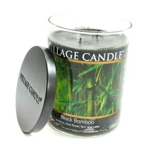 Village Candle Black Bamboo 2 Wicks Glass Jar Container Scanted Fragranc... - $29.00