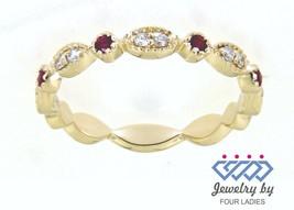 Ruby Round Gemstone 14K Yellow Gold 0.12CT Natural Diamond Eternity Band... - $972.18