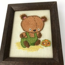 Vintage Small Embroidery Needlepoint Teddy Bear Baby Wood Framed mini ki... - $18.01