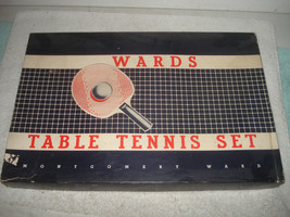 VINTAGE 1950s MONTGOMERY WARDS TABLE TENNIS PING PONG SET COMPLETE VERY ... - $44.99