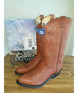 Old West Men's Leather Pull-On Snip Toe Cowboy Fashion Wear Boots Brown ... - $105.93