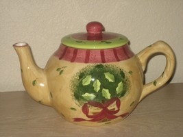 Porcelain Yellow Gold Gates Ware Green Leaf Floral Teapot with Lid Louri... - $16.79