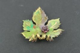 Vintage Jewelry Brooch Pin Hand Painted Metal Grape Leaf - $10.10