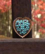 Vintage Crown Trifari© Heart Brooch, Turquoise and Blue - $475.00