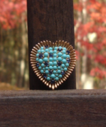 Vintage Crown Trifari Heart Brooch, Turquoise and Blue - $475.00