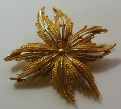 Vintage Gold-tone Floral Star Brooch - $18.32