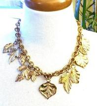 Gorgeous Multi Dangling Leaf Necklace Gold tone Vintage  - $20.39