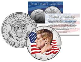 Colorized FLOWING FLAG 2018 JFK John F Kennedy Half Dollar U.S. Coin - P... - $8.56