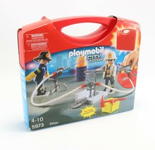 NEW - 2011 Playmobil City Action Set 5973 Fire Fighters Carry Case 34 Pi... - $13.63