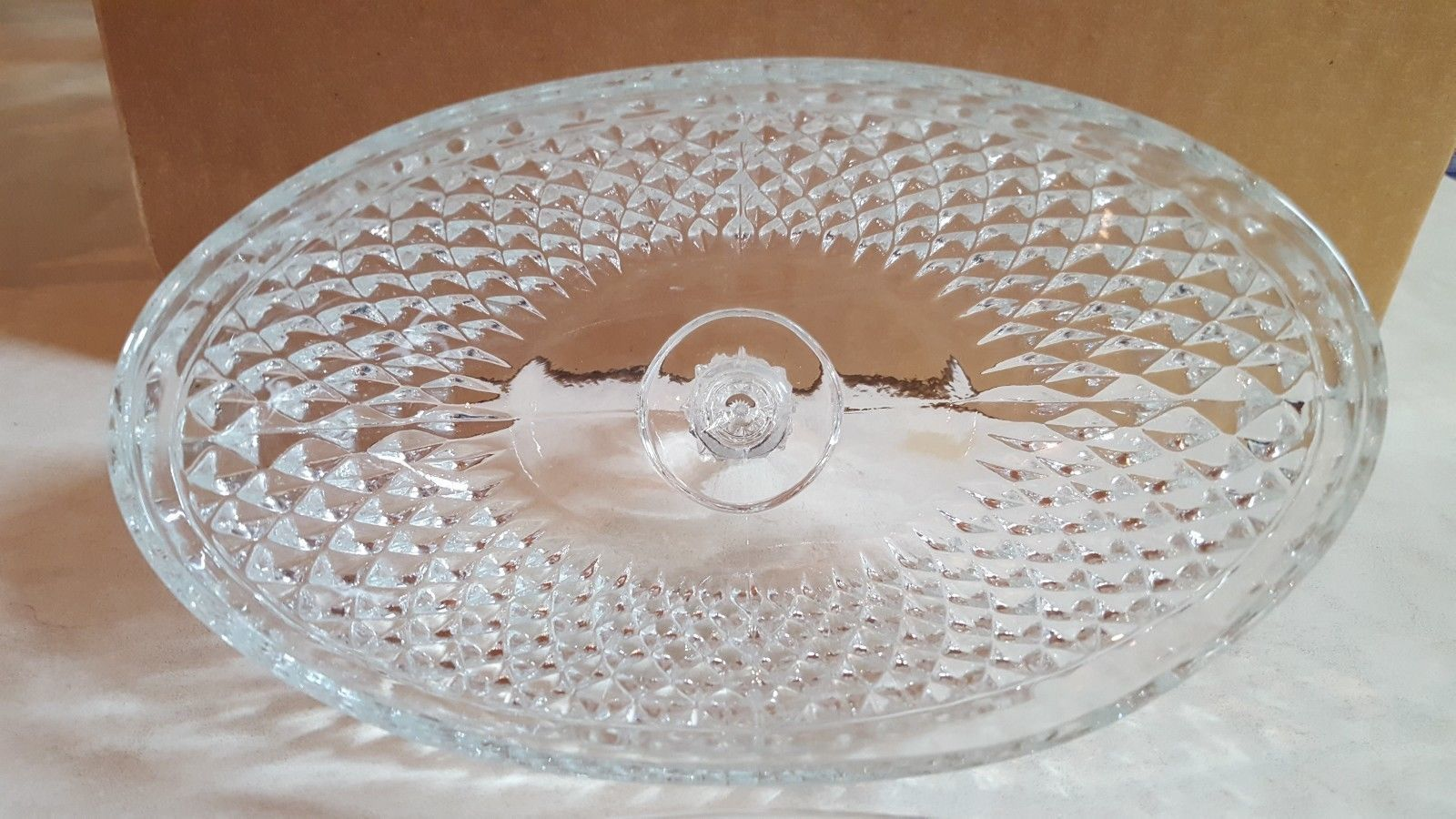 Indiana Glass Diamond Point Oval Covered Butter Dish, clear, discontinued