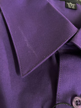 Omega Italy Men's Button Up Long Sleeve Solid Purple Dress Shirt w/ Defect - L image 3