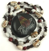 Vintage Jamaica Souvenir Necklace Natural Seed Bean Pod Beaded Boho Earthy - $9.84