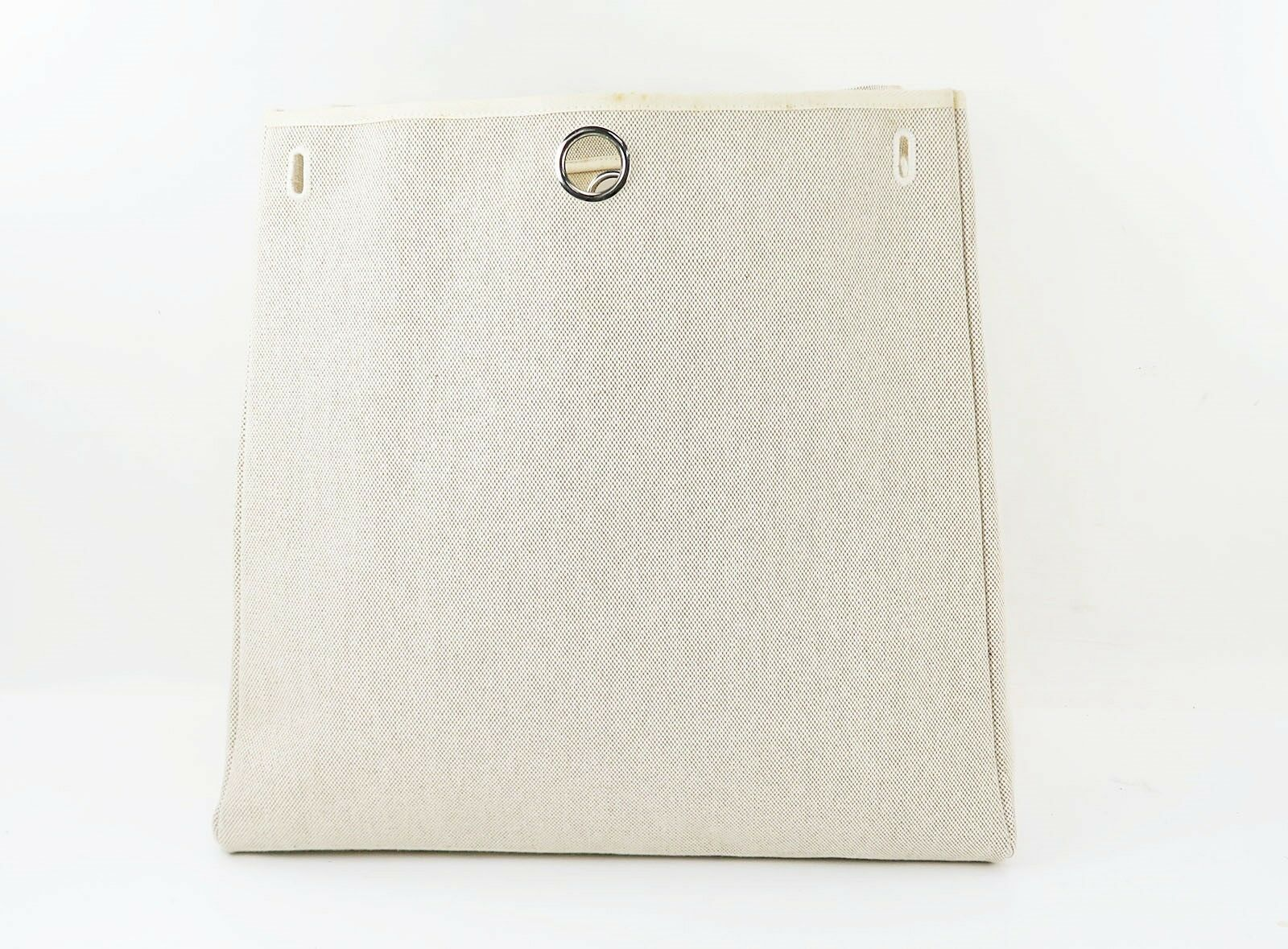 Auth HERMES Her Bag 2 in 1 Beige Canvas and Leather Hand Shoulder Bag #31320 image 11