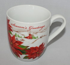 Fitz and Floyd Seasons Greetings Red Poinsettia Christmas Mug - $18.76