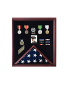 AMERICAN FLAG AND MEDAL MEMORIAL BURIAL DISPLAY CASE SHADOW BOX - $541.49