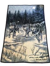 Vintage Biederlack Wolf Pack Wolves James Hautman 53 x 78 Plush Throw Bl... - $77.39