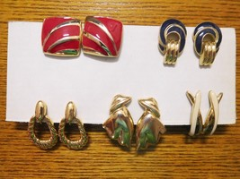 Jewelry Lot 5 TRIFARI Signed Gold Tone Clip On Earrings Vintage (K) - $50.69
