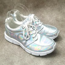 Gap Fit Womens Sz 6 M Silver Iridescent Lace Up Sneakers - $34.99
