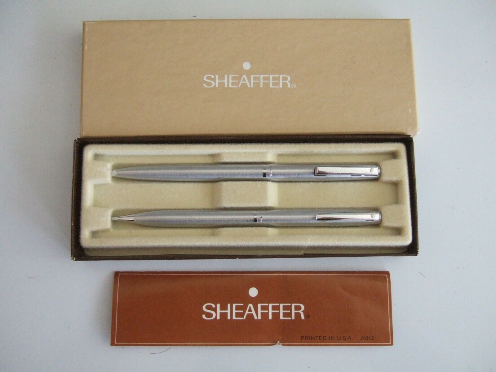 VINTAGE SHEAFFER TRIUMPH WHITE DOT 444 PEN AND PENCIL SET - ORIG BOX & INSTR.