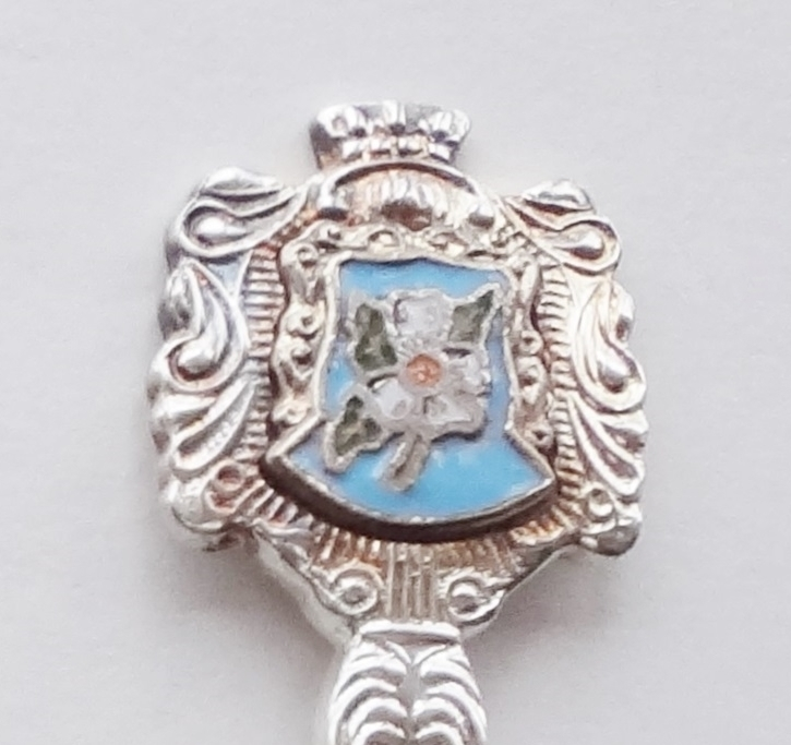 Collector Souvenir Spoon Canada BC Dogwood Flower Cloisonne Emblem Silver Plate - $3.99