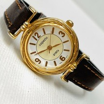 Vintage 1990's Capezio Women's Watch Faceted Crystal Gold Plated Brown L... - $19.75