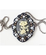 Flower Cameo Necklace, Gray, Beige, Swarovski Crystals, Pearls, Stainles... - $16.00