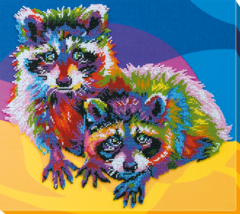 "Bead Embroidery DIY Kit ""Raccoons"" 13.4""х11.8"" - $72.95"