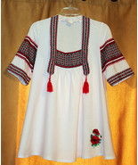 RUSSIAN ETHNIC FOLK FESTIVE TUNIC TOP WIDE 3/4 SLEEVES TASSELS EMBROIDER... - $39.99