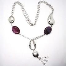 925 Silver Necklace, Jade Purple, Chain webbing, Waterfall, Drop Pendant image 2
