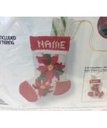"Poinsettia Stocking Needlepoint Christmas Kit Cheryl Ruehle 5"" 5066 Jiff... - $25.44"