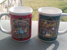 2 Vintage 1980s Enesco   Karen Hahn Christmas Carol Mugs God Bless everyone - $17.99