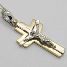 Cross Pendant Yellow Gold White 750 18K, with Christ, Glossy and Satin image 5