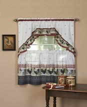 """Achim Home Furnishings ROTS36BU12 Rooster Tier and Swag Set, 57"""" x 36"""", Burgundy - $27.75+"""