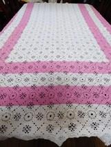 VTG Handmade Crochet White Square tiles Pink Accent Bedspread Coverlet 6... - $178.20