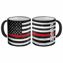 ALVAREZ Family Name : American Flag Gift Mug Firefighter Thin Line Perso... - $13.37+